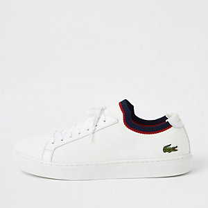 Lacoste white textile trainers
