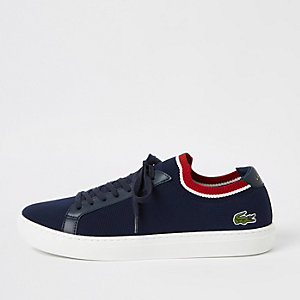 Lacoste navy textile trainer
