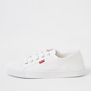 Levi's white lace-up canvas sneakers
