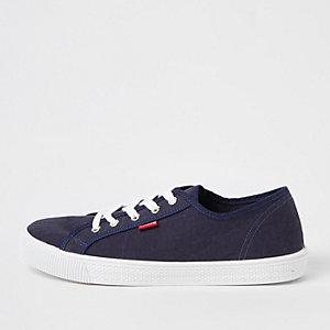 Levi's blue lace-up canvas trainers