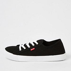 Levi's – Schwarze Leinen-Sneaker zum Schnüren