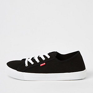 Levi's - Zwarte canvas vetersneakers