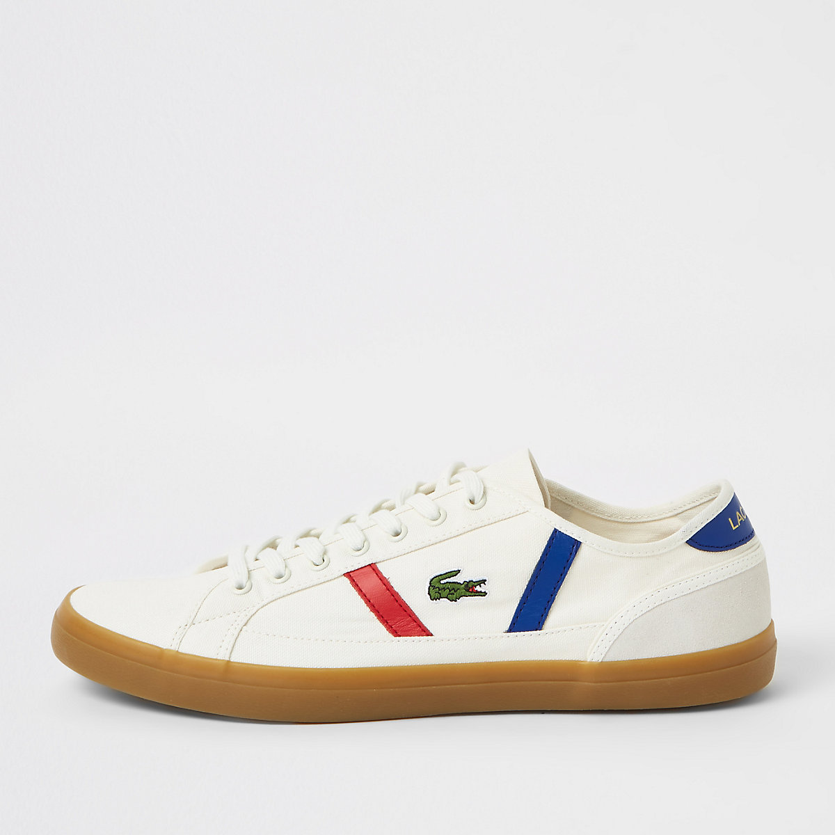 Lacoste white side trim trainers