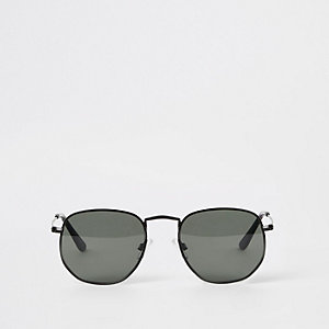 Selected Homme – Schwarze Hexagon-Sonnenbrille