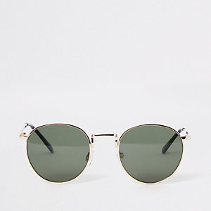 Goudkleurige ronde zonnebril