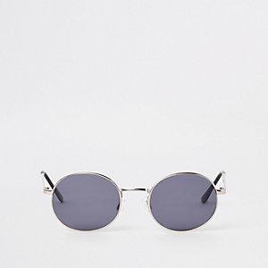 Selected Homme – Silberne, runde Sonnenbrille