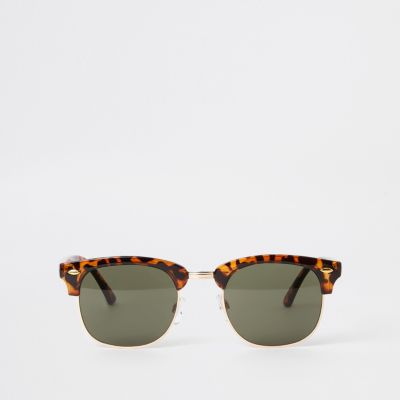 Selected Homme Brown Retro Frame Sunglasses by River Island