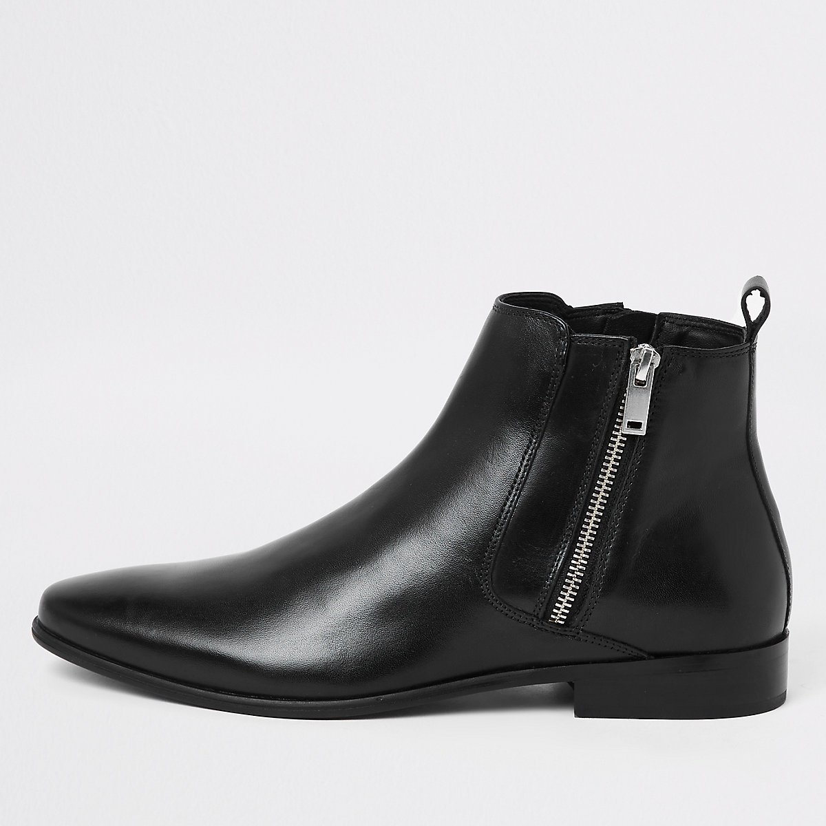 Black leather side chelsea boots
