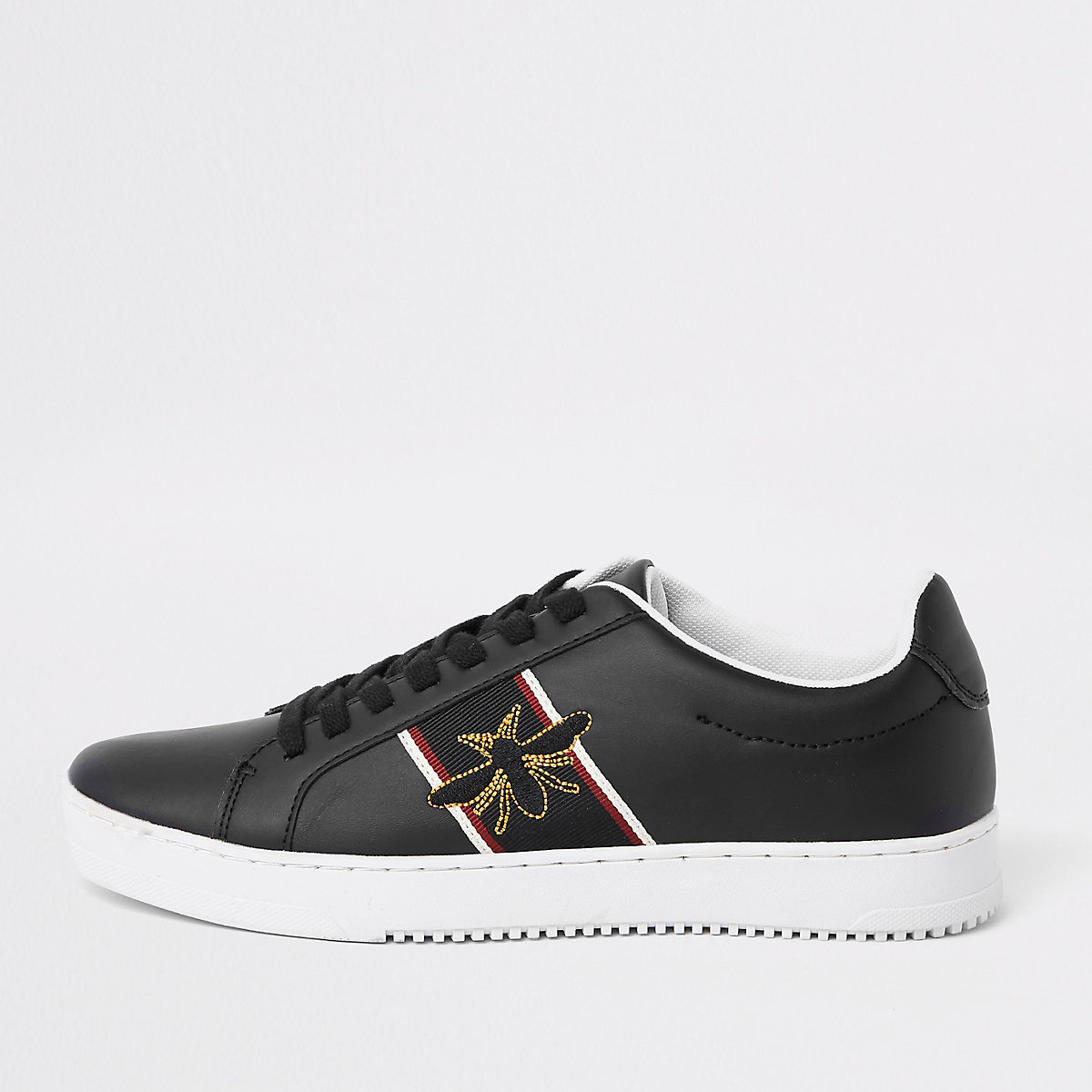 Black wasp embroidered sneakers