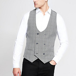 Black check double breast vest
