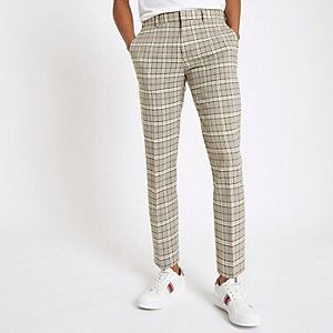 Stone check stretch skinny smart pants