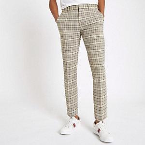 Pantalon habillé skinny stretch à carreaux grège