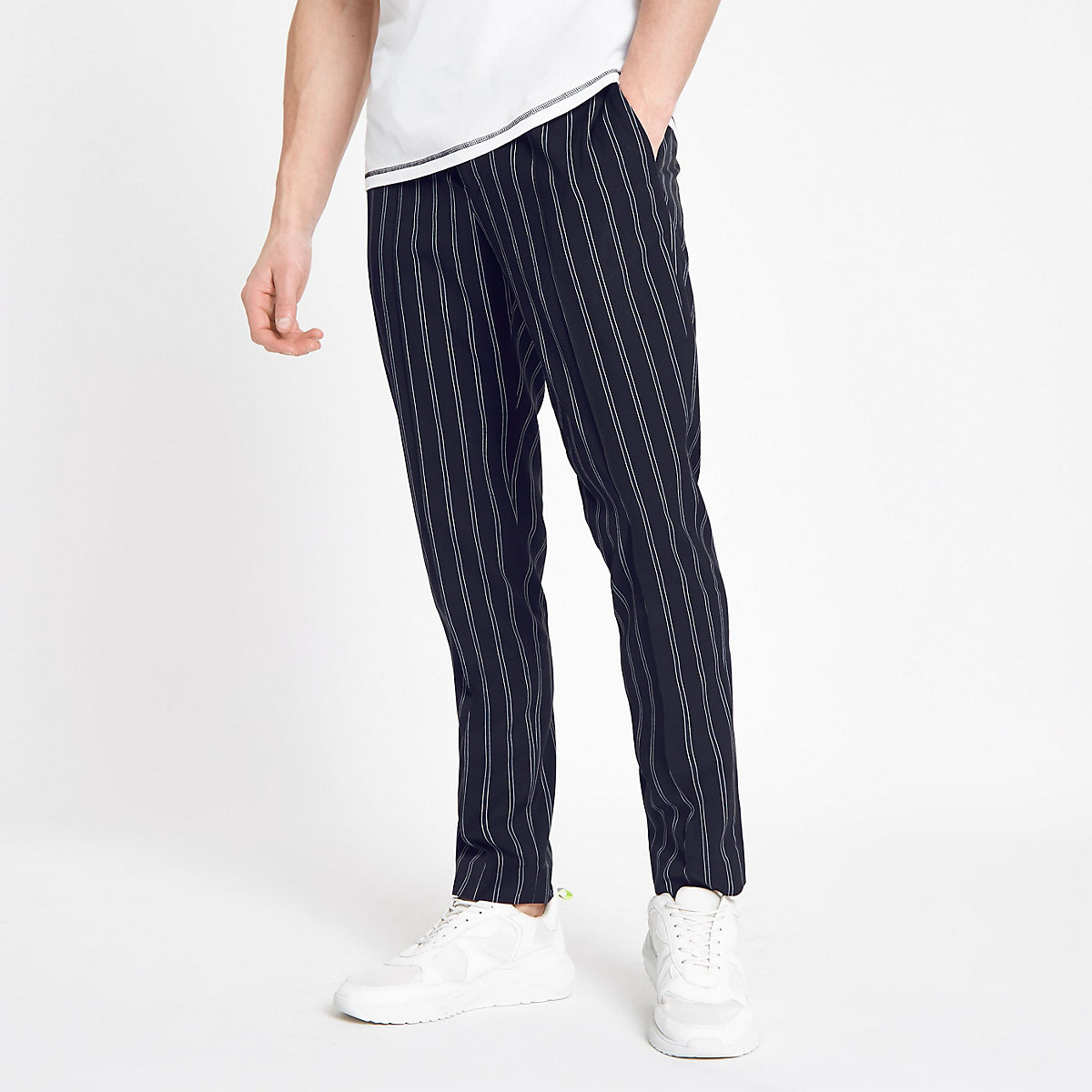 Navy stripe skinny fit jogger pants