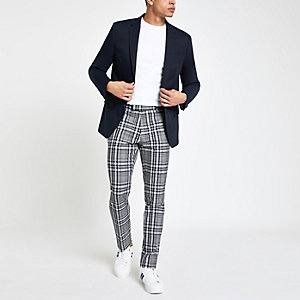 Grey check skinny smart trousers
