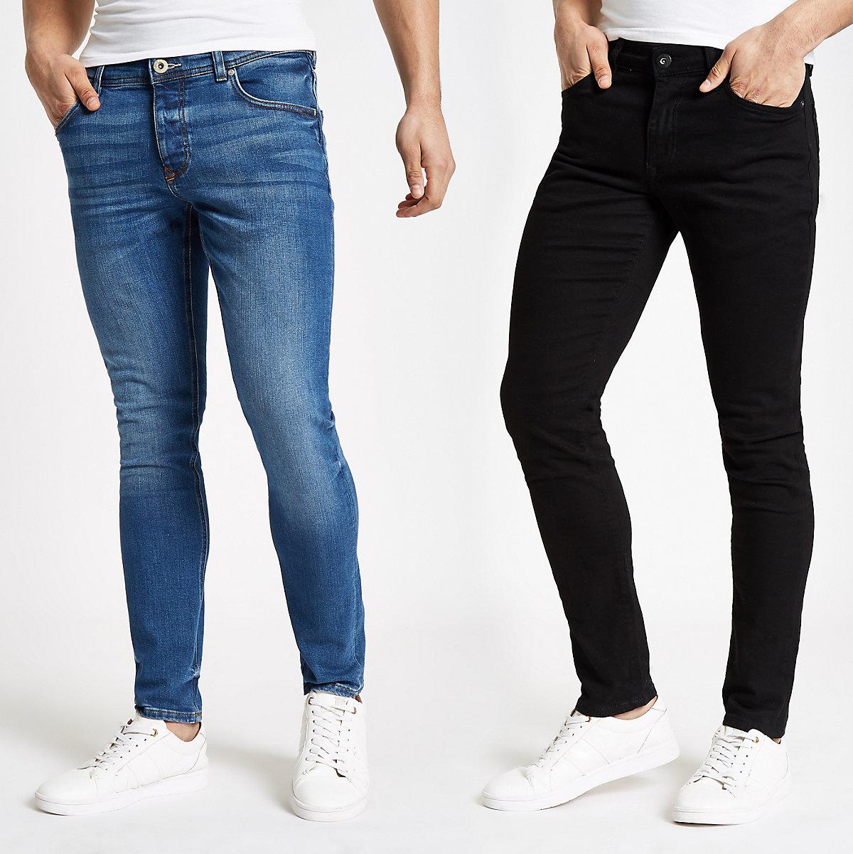 Sid – Skinny Fit Jeans in Schwarz und Blau, 2er-Pack
