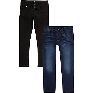Schwarze Slim Fit Jeans im Set