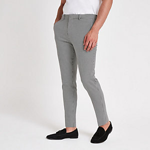 Black dogtooth super skinny smart trousers