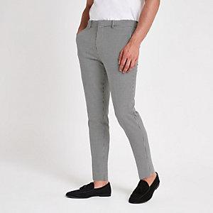 Pantalon habillé super skinny à motif pied-de-poule noir