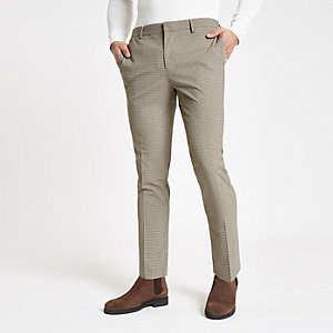 Ecru pupstooth super skinny smart trousers