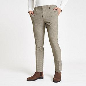Pantalon super skinny habillé à motif pied-de-poule écru