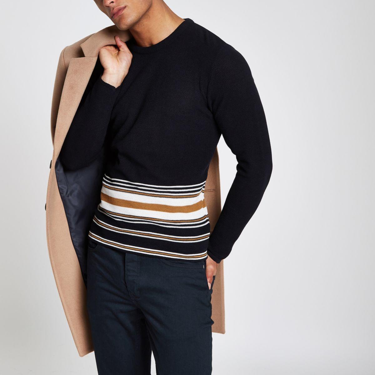 Navy slim fit stripe hem sweater