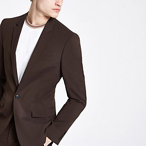 Veste de costume skinny marron