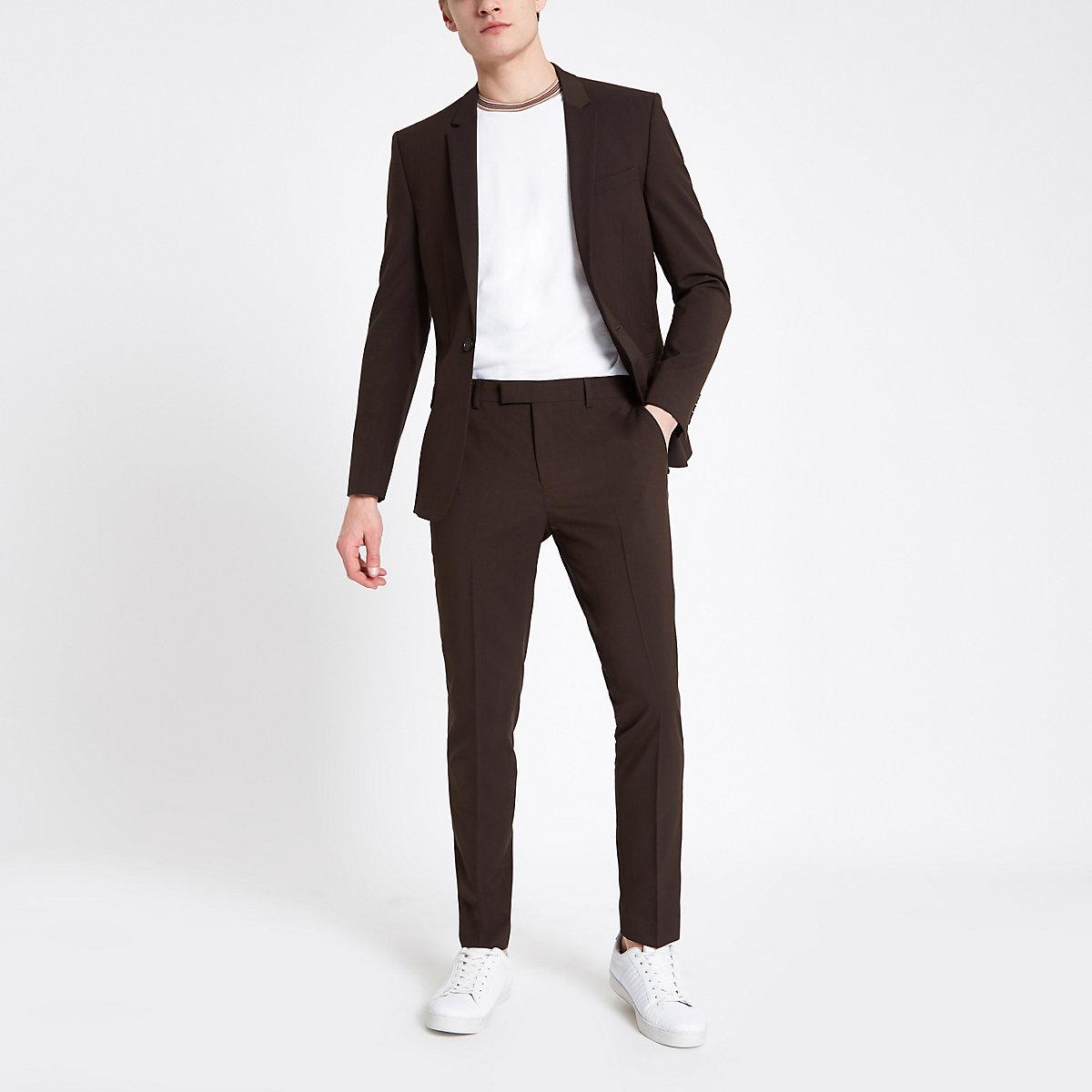 Brown skinny fit suit pants