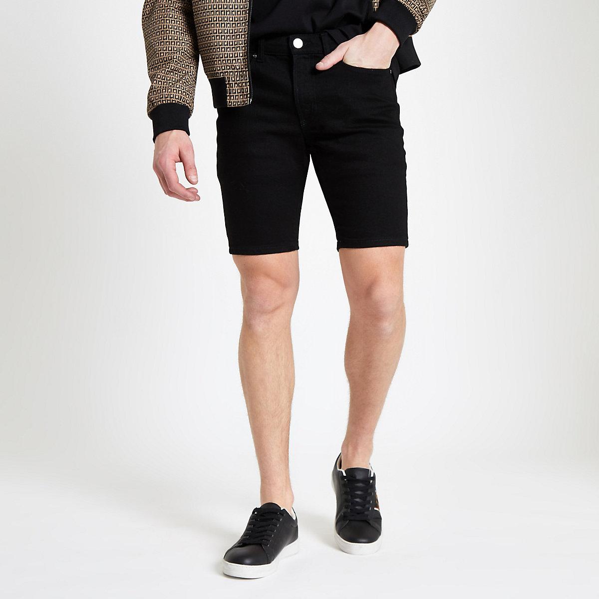 Black skinny denim shorts
