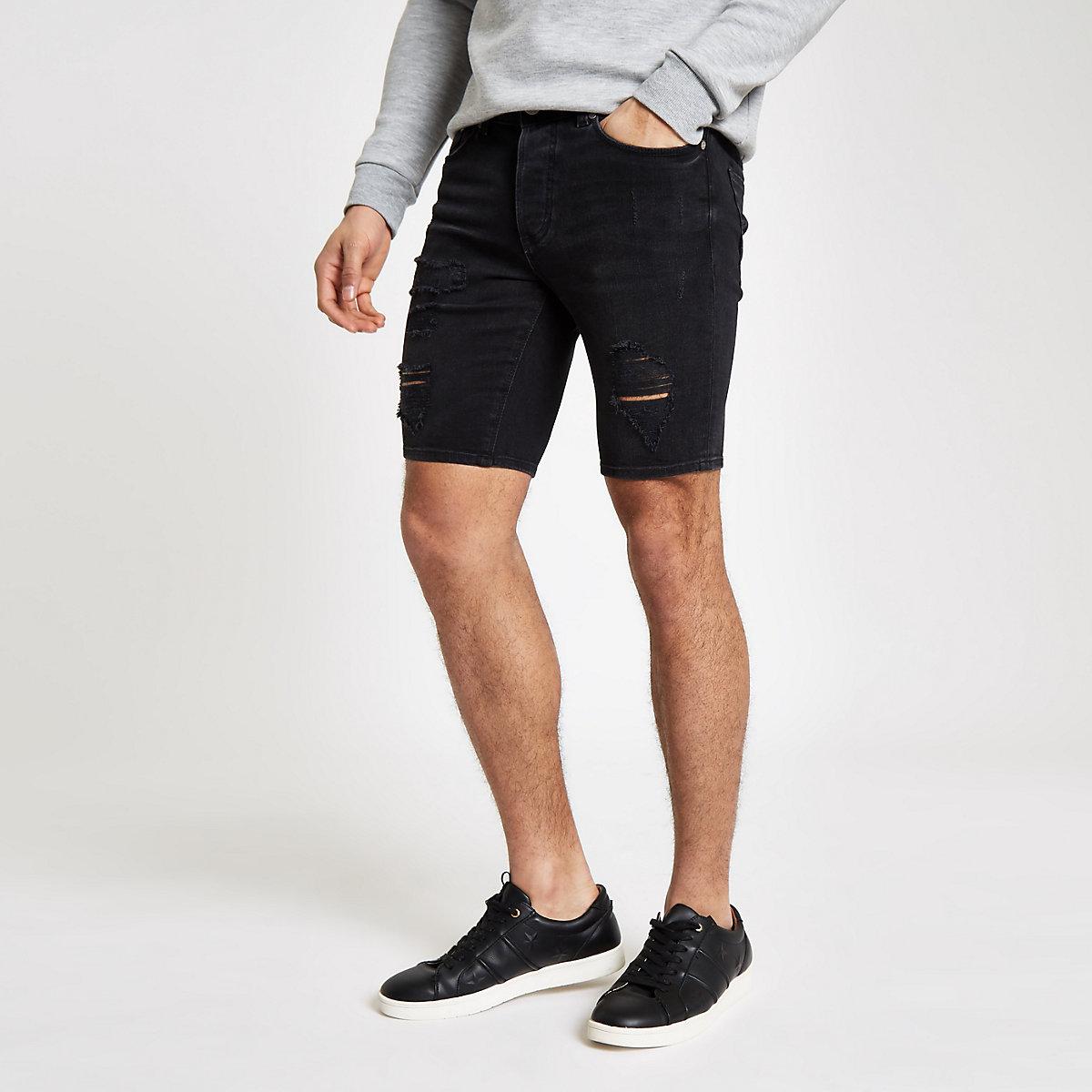 Black ripped skinny denim shorts