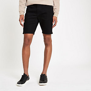 Zwarte slim-fit denim short