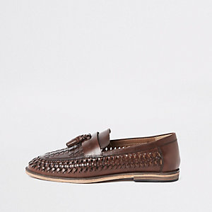 Dark brown leather woven tassel loafers