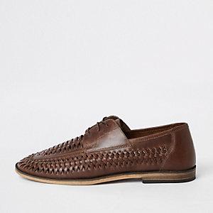 Chaussures derby en cuir fauve à lacets