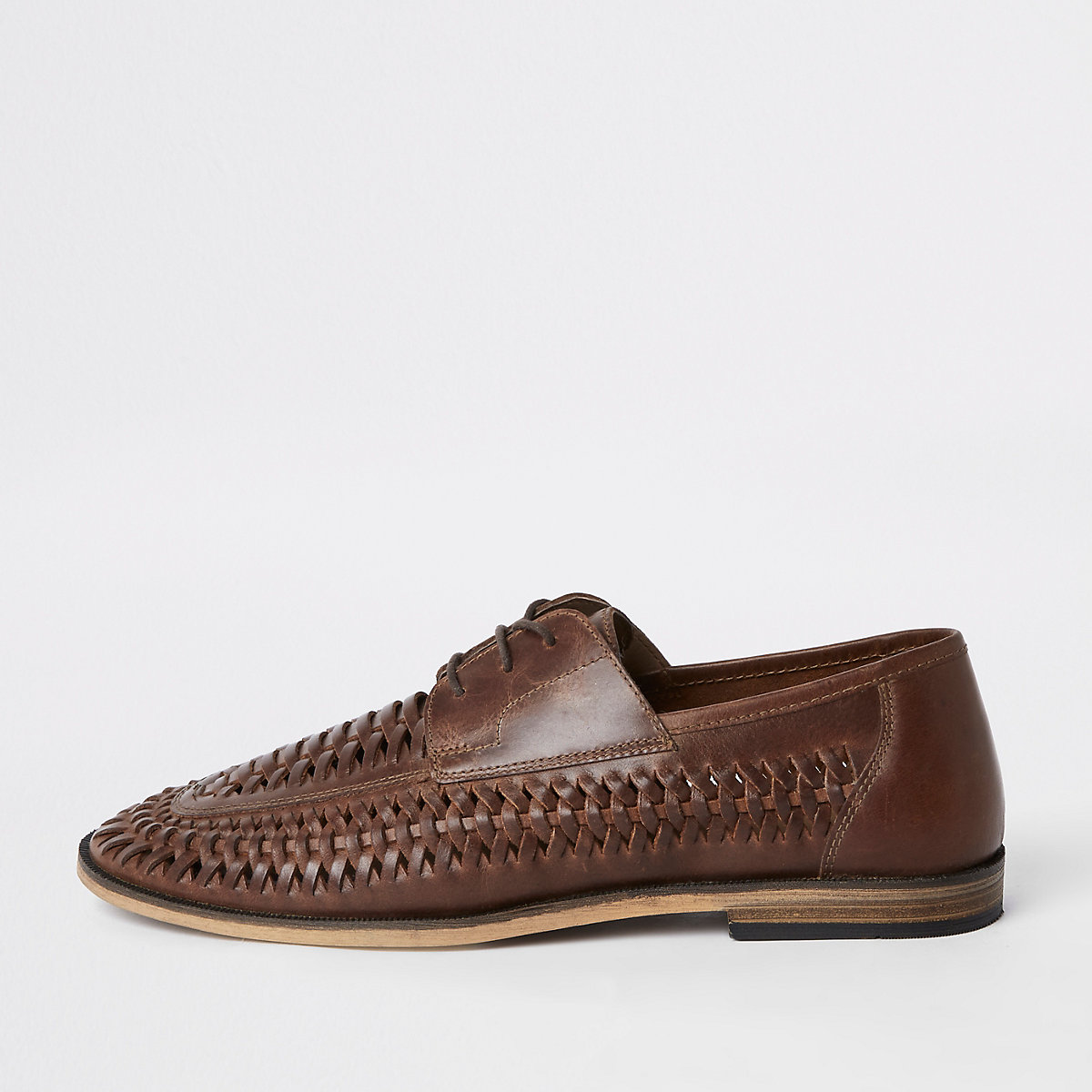 Tan leather woven lace-up derby shoes