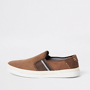 Tan espadrille trim slip on plimsolls