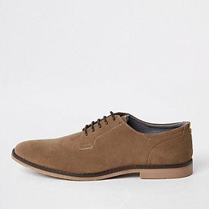Chaussures derby fauves à lacets effet vieilli