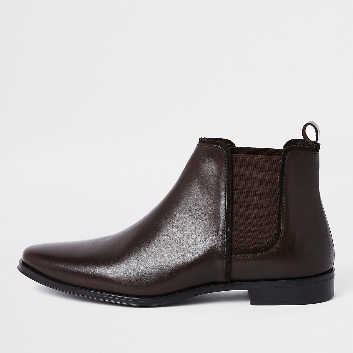 Chocolate brown leather chelsea boot