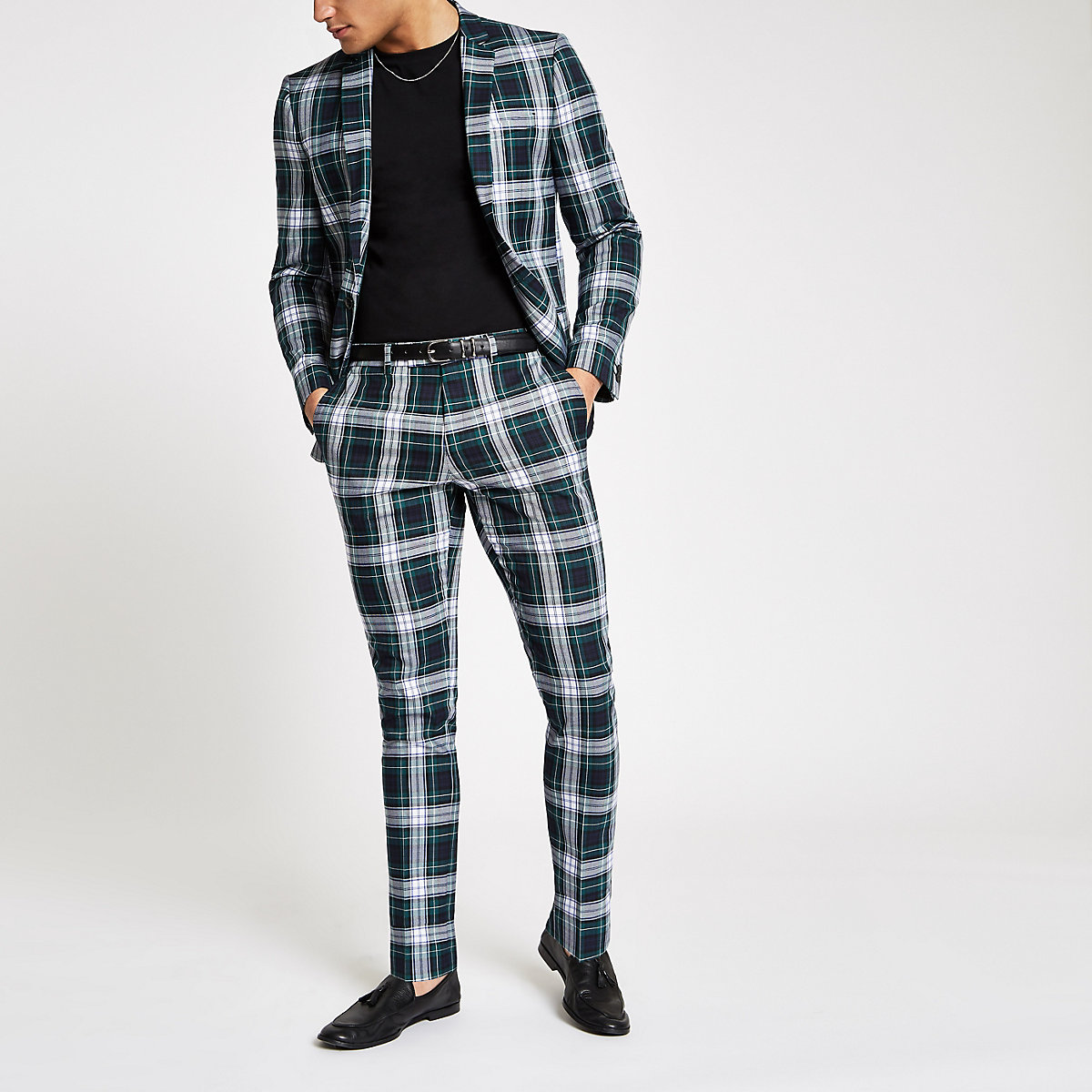 Green plaid skinny fit suit pants