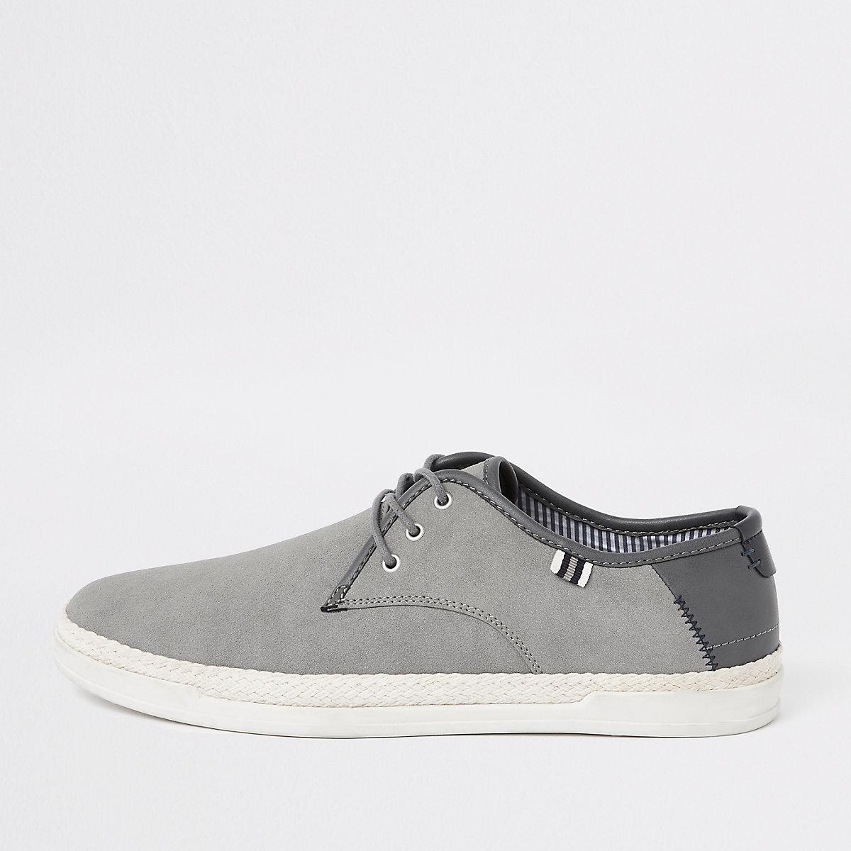 Grey espadrille trim lace-up plimsolls
