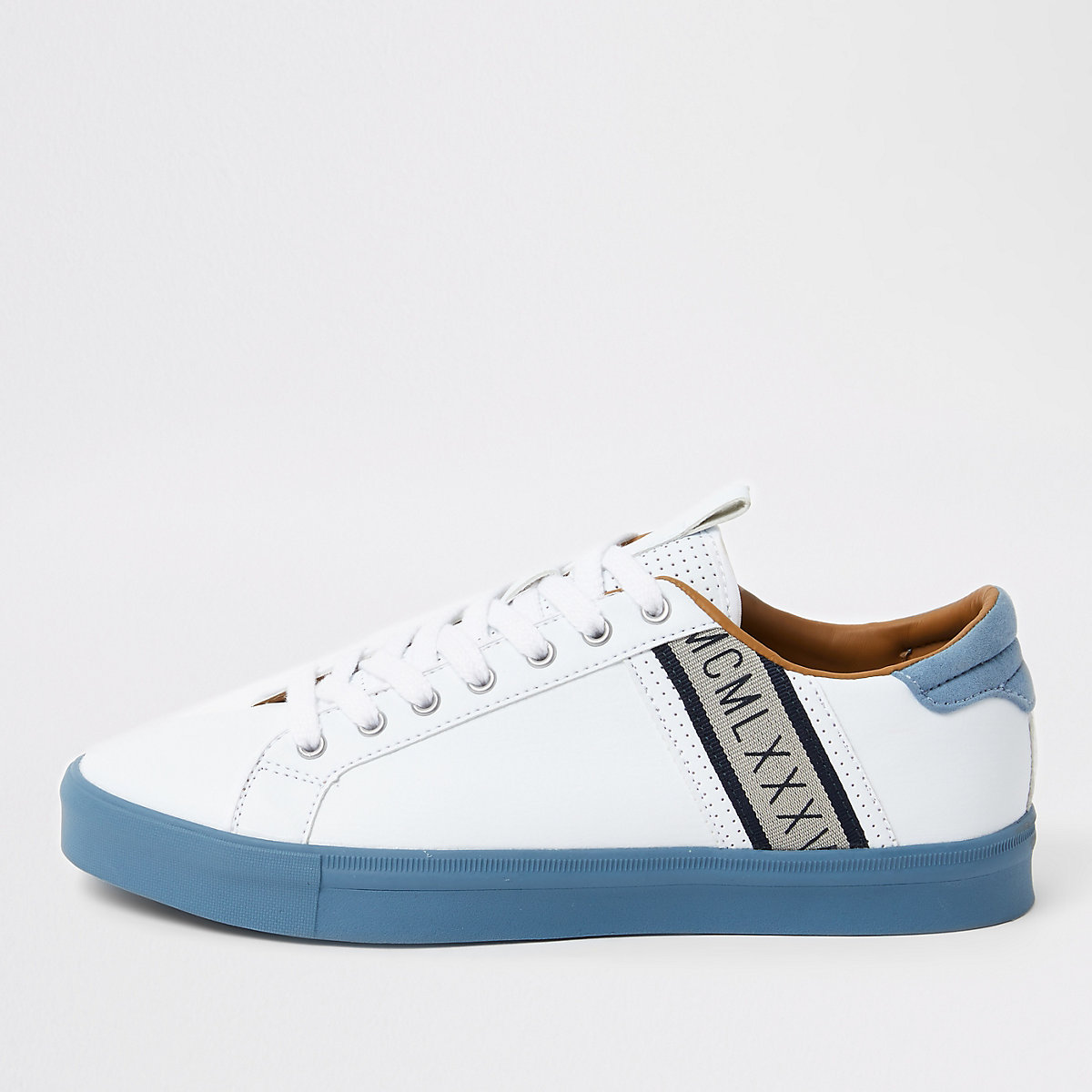 White seattle blue stripe trainers