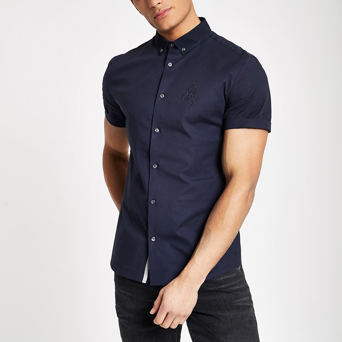 Navy muscle fit RI embroidered poplin shirt