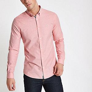 Roze aansluitend Oxford overhemd met borduursel