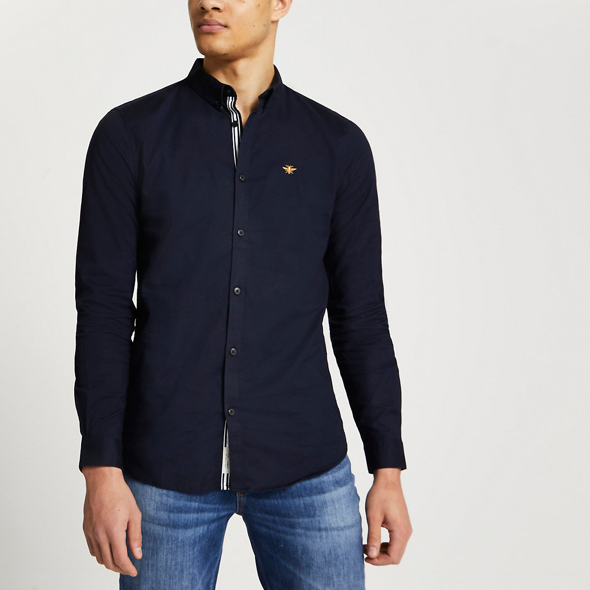Navy muscle fit embroidered Oxford shirt