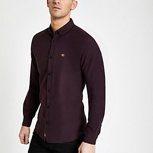 Bordeauxrood Oxford shirt met visschubbenmotief en borduursel