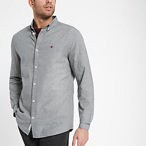 Chemise Oxford grise à broderie guêpe