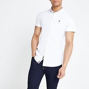 Weißes Muscle Fit Oxford-Hemd mit Stickerei