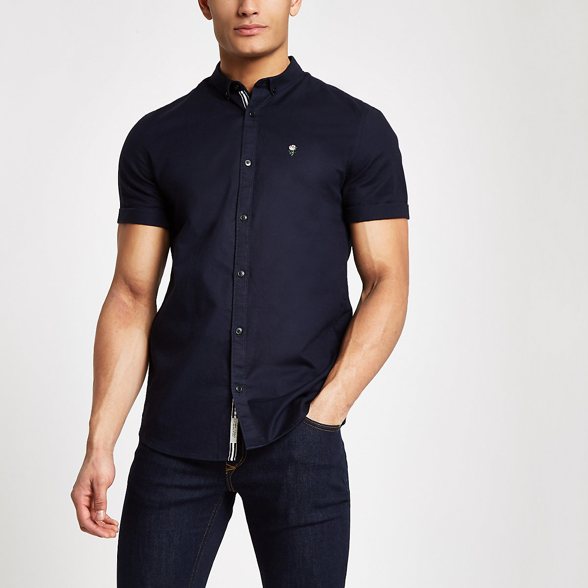 Navy muscle fit rose embroidered Oxford shirt