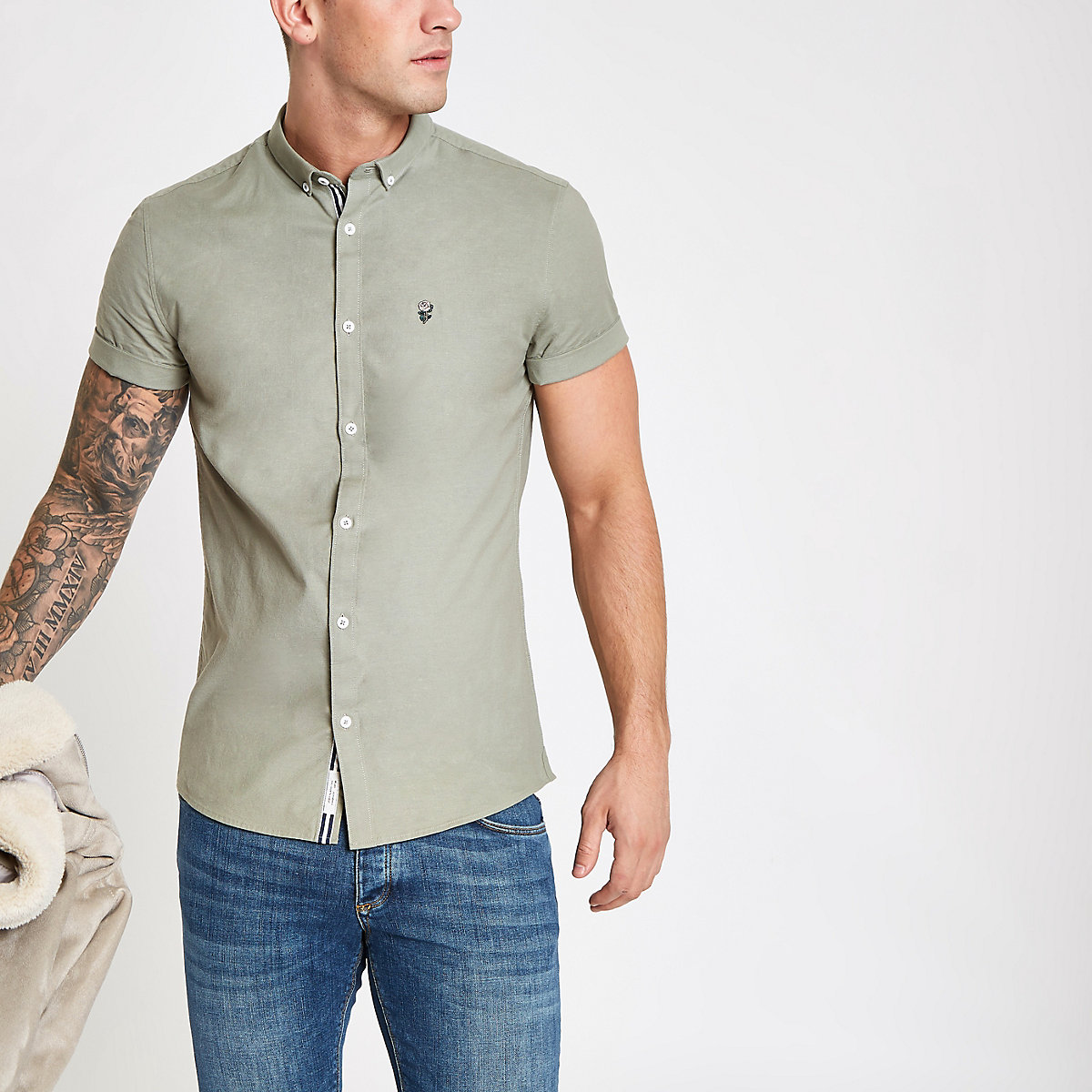 Khaki muscle fit rose embroidery Oxford shirt