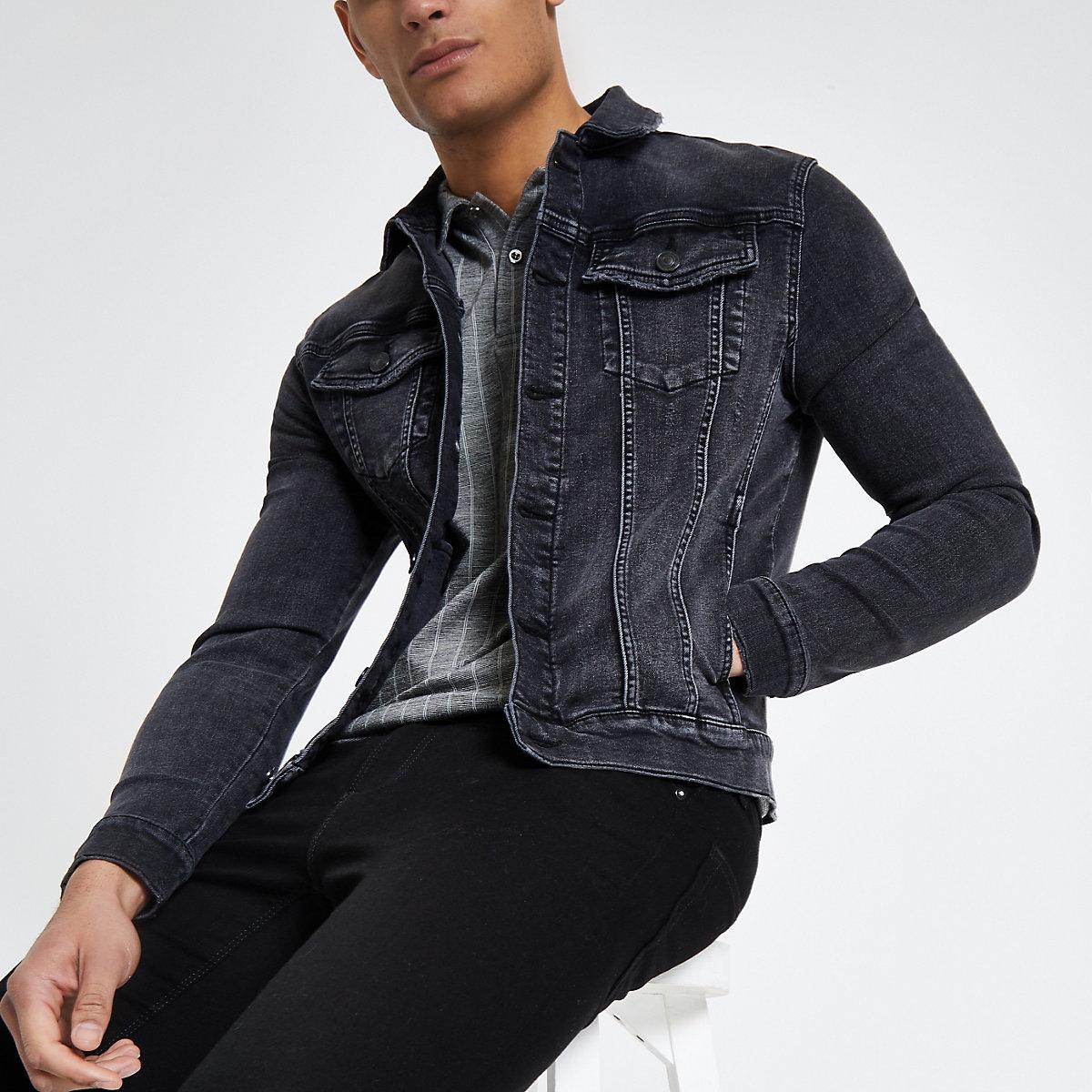 Black washed muscle fit denim jacket