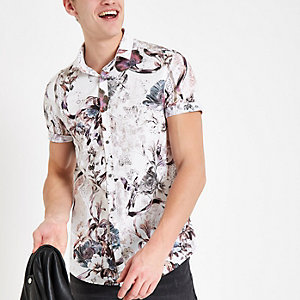 Ecru floral slim fit short sleeve shirt