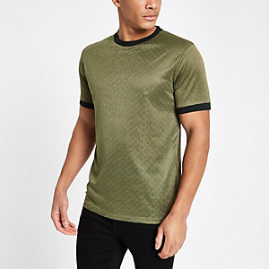 Green jacquard tipped crew neck T-shirt